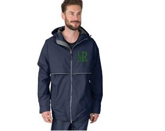 Men's Rain Jacket, Unisex Rain Jacket, New Englander Rain Jacket, Embroidered Men's Rain, Rain jacket for Men, Charles River New Englander