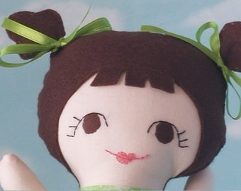 Green Tiny Tot Doll with Brown Hair
