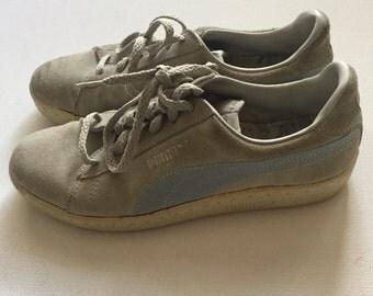 PUMA Vintage 80's shoes sz 7 cream baby light blue distressed perfection