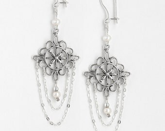 Earrings Pearl and Siver
