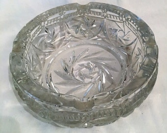 Vintage Cut Glass Ashtray