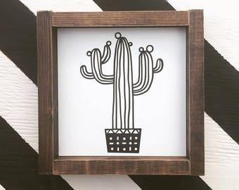 Cactus Mini - Wood Sign