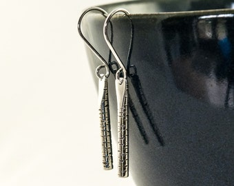 silver birch earrings, birch bark drop earrings, dangle earrings, textured silver earrings, 5th wood wedding anniversary gift idea