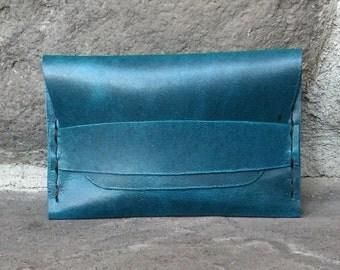 Teal Blue Leather Strap Wallet Card Case