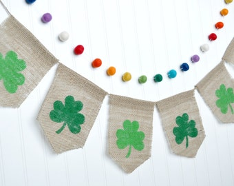 St. Patrick's Day Decor, St. Patty's Day Burlap Banner, Shamrock Banner, Shamrock Garland, Green Bunting Banner, Burlap Garland, Irish Decor