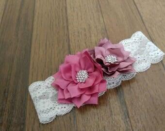 Newborn headband Dusty rose and lace
