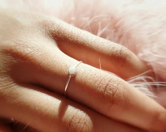 Pink Opal Ring - Sterling Silver Ring - Stacking Ring - Thin Silver Band - October Birthstone - Pink Gemstone - Gift for Her - Bridal Party