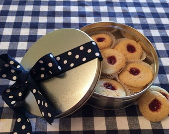 Raspberry Thumbprint Cookies in a Cookie Tin, Nut Free Thumbprints, Sugar Cookies, Jelly Cookies, Gifts under 20, Gift Basket, Gift Package