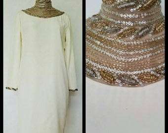 Elegant Creamy White Sequins Dress