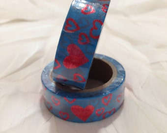 Gorgeous Blue Washi Tape with Red Foil Hearts - 6 metre roll