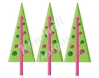 Decorated Christmas Trees - Machine Embroidery Design