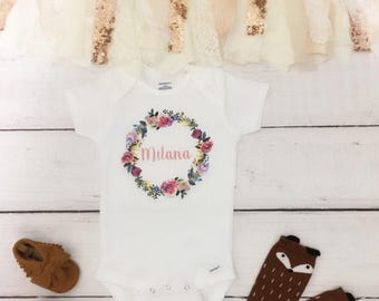 boho baby clothes, Floral name bodysuit, take home outfit, coming home outfit, newborn bodysuit, baby girl clothes, floral bodysuit