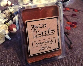 SoyCat Candles Wax Melt 2.5 oz Amber Woods (Amber, Wood and Musk scented/100% Soy Wax/Homemade/Rustic Style)