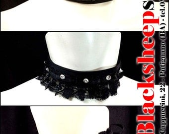 Stylish collars, base in satin ribbon and decorated with Swarovski crystals, Made in Italy hand made necklace, dark, goth, black,