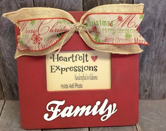 Christmas Family Picture Frames Rustic Distressed 4x6