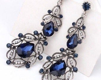 Antique Style Silver & Blue Chandelier Earrings - Wedding/Bridal/Bridesmaid/Prom EA6082i