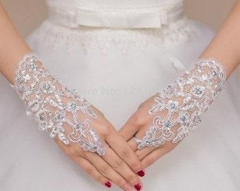Stunning Short Bridal White Fingerless Lace Wedding Gloves (One Size)