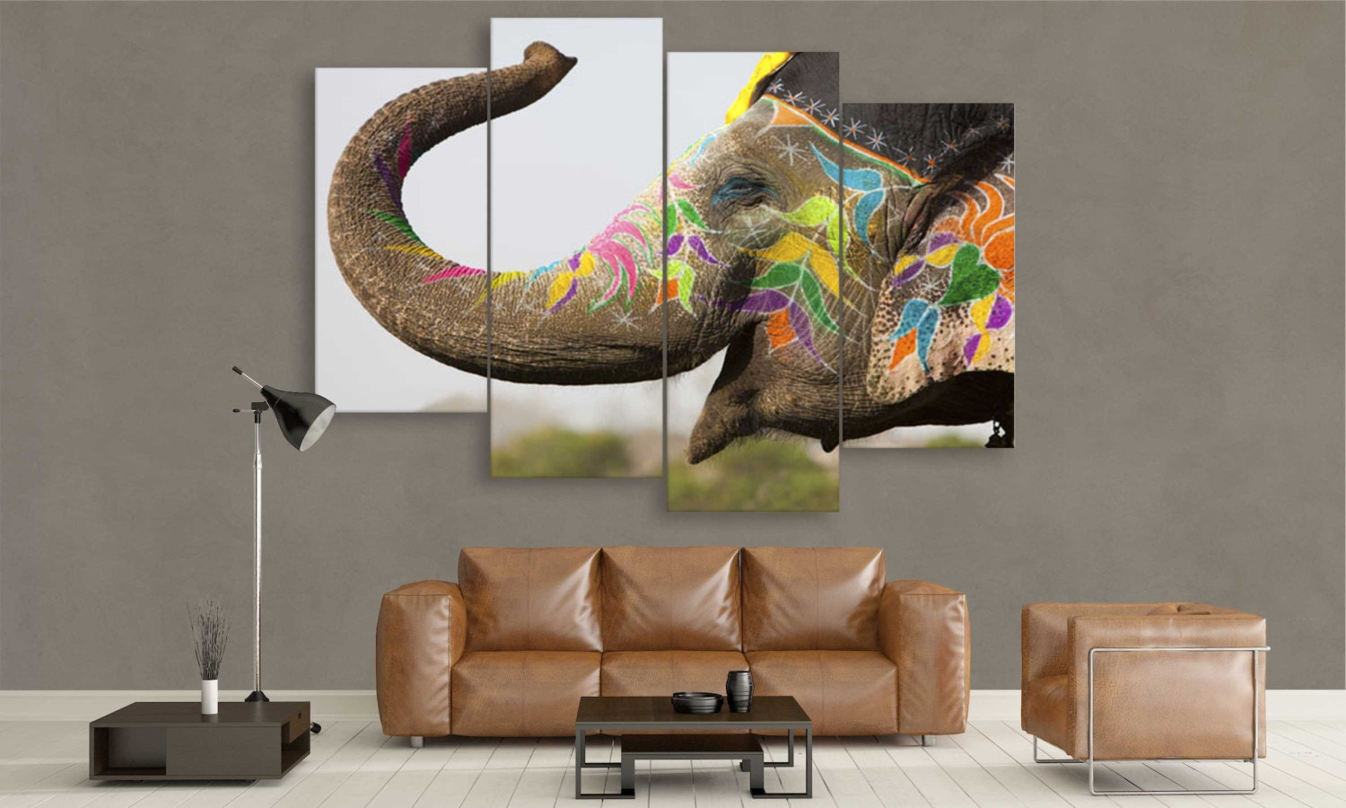Large elephant canvas panel wall art by canvasfactoryco for Large panel wall art