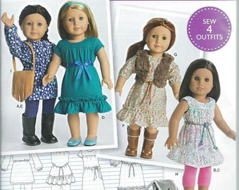 Simplicity D0541, 8282, American Girl, Sewing Pattern, Dress, Tunic, Leggings, Handbag, Doll Clothes, Doll Purse, Doll Vest, Doll Clothing