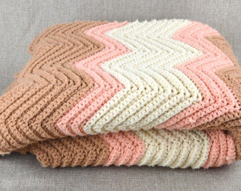 Handmade Vintage Chevron Afghan in soft Neapolitan Ice Cream Colors 1960-1970s