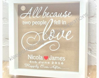 Personalised Wedding Shadow Frame - 'All Because two people fell in love' quote