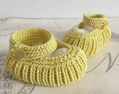 Sale Item Baby Booties Yellow Baby Shoes Lemon Knitted Shoes Baby Shower Gift 0 4 Months Cotton Handknits Baby Knitwear Mom to be Gi