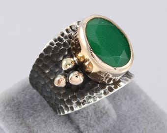 Handmade Authentic Aged Oxidized 925 Sterling Silver Emerald Stone Ladies Ring Size Adjustable