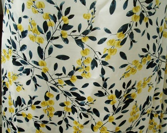 "Silk cotton blend fabric  elegent printed sateen 53"" 14m/m sping summer sewing"