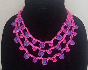 Pink and purple crochet skull necklace- Dia de los muertos