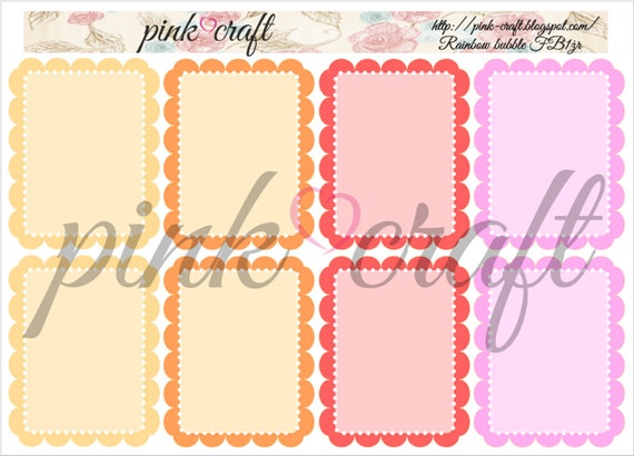 Full boxes planner stickers. Rainbow bubble collection FB1żr