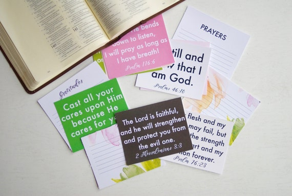 Verse Cards, Verses for Comfort and Encouragement, Bold and Floral, Instant Download