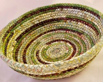 Coiled Fabric Basket Small Catchall Fabric Wrapped Clothesline Bowl Green Fabric