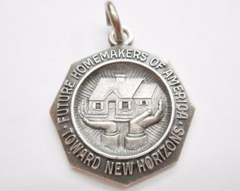 Vintage Sterling Silver Future Homemakers of America Charm Pendant #2983