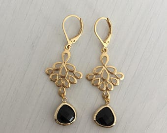 Gold Earrings with ornament and black stone pendants, Onyx pendants, precious