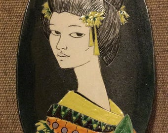 1960s/70s Japanese Geisha Girl serving platter or wall plaque