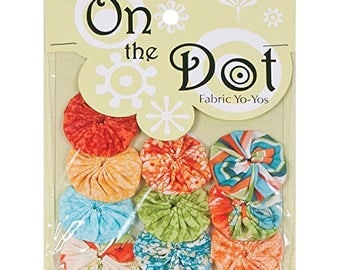 On the Dot Fabric Yo-Yo's | Choose from Two (2) Designs (Vintage Floral or YoYo-City | 10 Pc