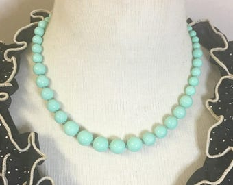 Darling - Retro inspired graduated glass bead necklace in scumptious mint green by Seditious Jewelry