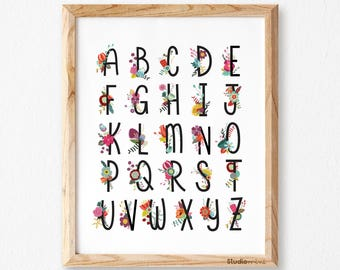ABC wall art, Nursery Alphabet Poster, Alphabet Print, Kids Alphabet Art, Alphabet Wall Art, Alphabet Nursery, ABC Print, Playroom Art Print