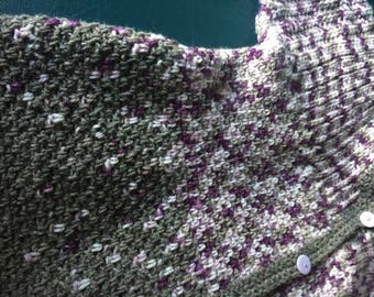 Purple, mauve and grey cardigan with ombre effect size UK 14-16