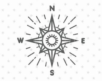 Compass SVG Compass svg file Nautical Compass SVG Nautical svg Compass svg Retro Compass svg Retro svg Compass Cricut File Cricut Silhouette