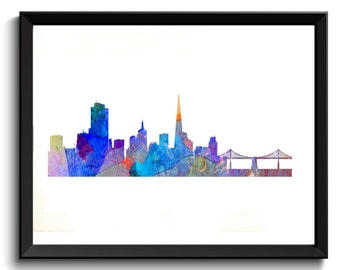Printable San Francisco Print - SF Watercolor Art, SF Painting, San Francisco Oil Painting, California Art Print, SF Art Print