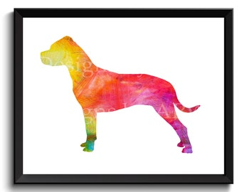 Pit bull terrier art, pitbull terrier art, pitbull dog art, watercolor pitbull, pitbull artwork, printable dog art, instant - SKU1007