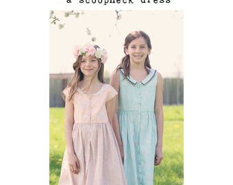 Girls DRESS PDF Pattern, Camellia Dress, scoopneck dress, Dress Pattern, PDF Pattern, Girls Dress Pattern, Tween Girl Dress, Collared dress