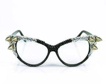 Black Gothic Glasses | Studded Glasses | Black Crystal Glasses | Gothic Punk Eyewear | Black Cateye Glasses | Fashion Glasses |
