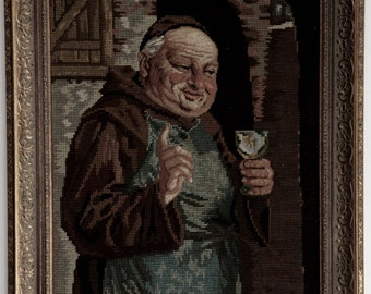 Framed German Needlepoint • Monk with Wine