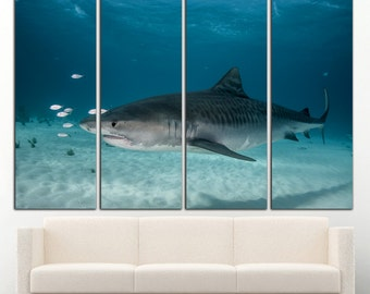 Shark wall art Shark wall decor Shark canvas Shark print Ocean Wall Art Ocean wall decor Underwather decor Diving Large Canvas Print Decor