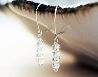 Sterling silver Quartz earrings | Clear white earrings | Natural gemstone earrings | Bridal earrings | Wire wrapped earrings | Gift for her