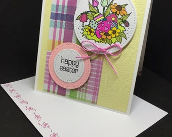 Easter Card, Pink, Yellow & Green Easter Card, Hand Colored Easter Scene, Fancy Handmade Card