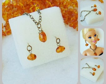 Barbie doll jewelry, barbie jewelry set, amber jewelry, doll jewelry, fashion doll, fashion doll jewelry, barbie necklace, barbie earrings