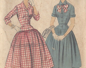 "1950s Vintage Sewing Pattern B32"" DRESS (R182)  Advance 7063"